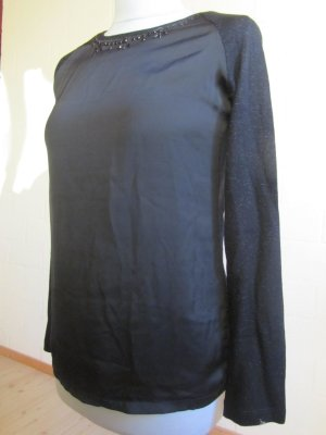 ORSAY: Pullover Materialmix, schwarz, Gr. 38