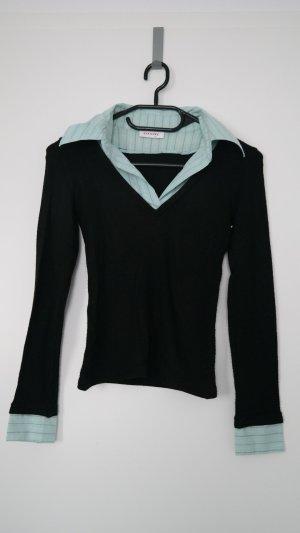 Orsay Pullover schwarz mit Kragen Gr. XS