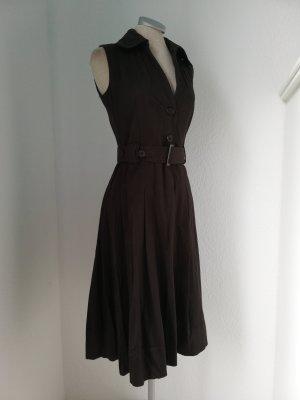 Orsay Retro Kleid Gr. 34 36 XS S braun Midikleid knielang Baumwolle