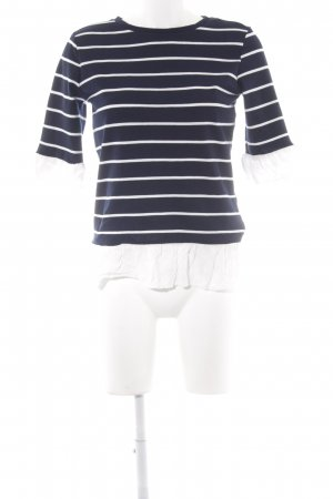 Orsay Rundhalspullover dunkelblau-weiß Streifenmuster Lagen-Look