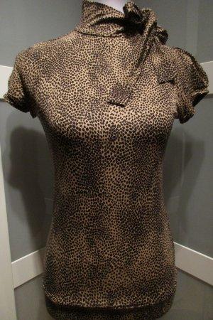 Orsay, Schluppenbluse, Kurzarm, Viskose, Feines Leo-Muster, Größe 38, NEU