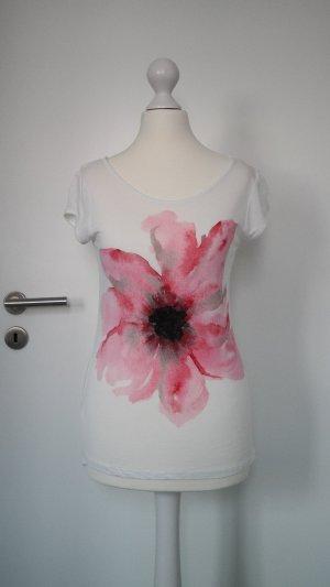 Orsay Shirt Weiß mit Blumenprint Rot Rosa Gr. S