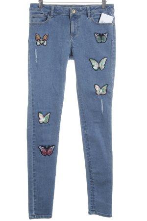 Orsay Jeans slim bleu imprimé avec thème style romantique