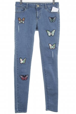 Orsay Slim Jeans blau Motivdruck Romantik-Look