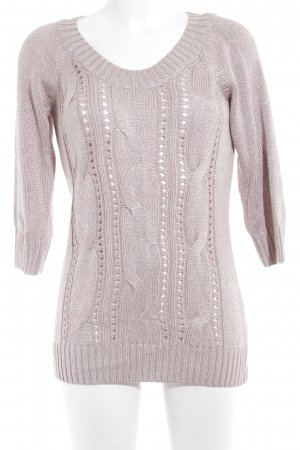 Orsay Knitted Sweater beige loosely knitted pattern casual look