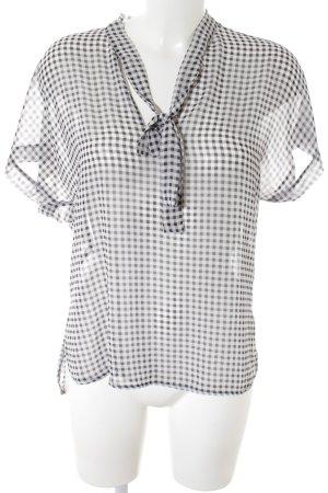 Orsay Transparenz-Bluse weiß-schwarz Karomuster 50ies-Stil