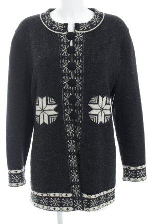Ortrud Rainer Wollen Jack zwart-wolwit zigzag patroon country stijl