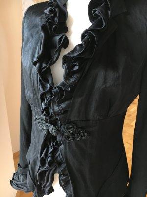 Orwell Blazer mit abnehmbaren Rüschen schwarz leicht glänzend