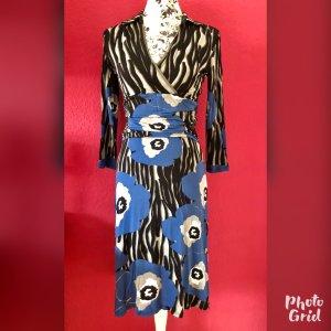 Orwell grau-schwarz-blau gemustertes Jerseykleid