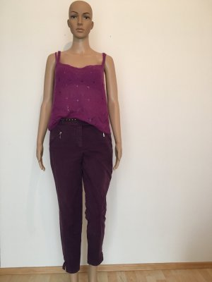 Orwell Luxus Marke Designer Jeans lila aubergine dunkel Stretch Slim Hose Five Pocket colored Denim Jeans Stiefelhose ankle 7/8 Schlitz bequem fest top musthave