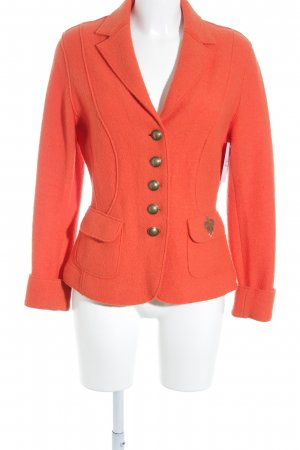 Orwell Woll-Blazer orange Motivdruck extravaganter Stil