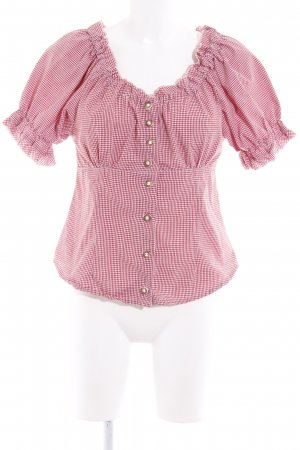 OS Trachten Carmen Blouse red-white check pattern casual look