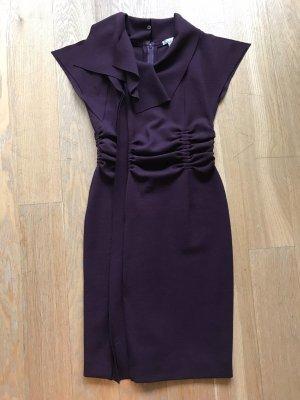 Oscar de la Renta Kleid aus aubergine farbenem Wollstoff