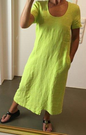 * OSKA * LEINEN MAXI KLEID neon gelb / grün 100% LEINEN Gr 1 S 36 38 M