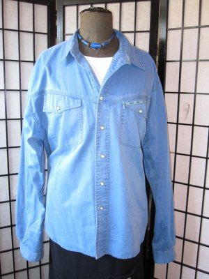 Camicia denim blu acciaio Cotone