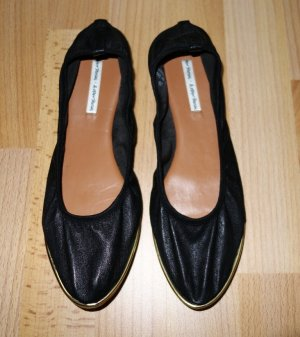 & Other Stories Ballerinas Leder schwarz stretch Gr. 39 Flats Retro Blogger Look