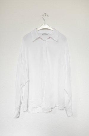 & Other Stories Bluse Hemd weiß Chiffon Vintage Look Gr. 38 Oversized