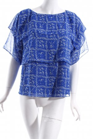& other stories Bluse weiß-blau abstraktes Muster Casual-Look