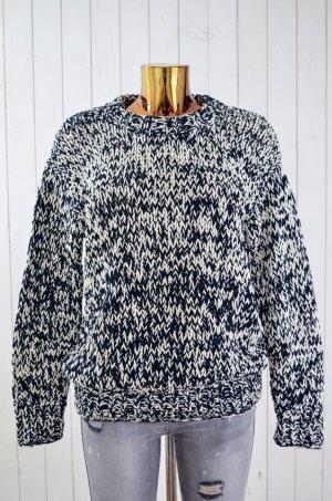 &OTHER STORIES Damen Pullover Grobstrick Rundhals Baumwolle Schwarz Weiß Gr.S