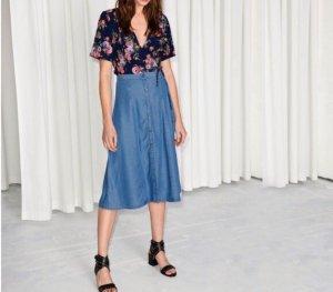 & other stories Midi Skirt light blue lyocell