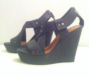 &Other Stories Dunkelgraue Sandalette Wedges LEDER