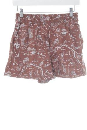 & other stories High-Waist-Shorts karminrot-hellgrau abstraktes Muster