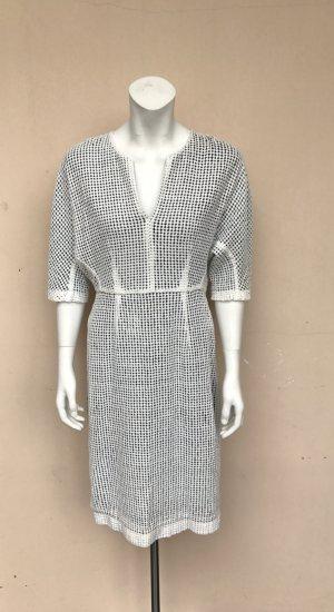 & other Stories Kleid Gr.36(38) Midi schwarz/Weiß Häkelkleid halbarm neu ohne Etikett Crochet Business beige