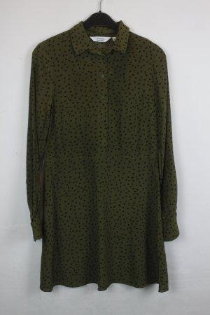 & Other Stories Kleid Hemdblusenkleid Gr. 34 grün mit schwarzem Muster (18/4/027)