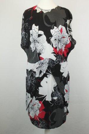& other Stories Kleid Midikleid Kurzarmkleid Gr. 38 schwarz weiß rot Blumen