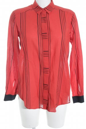 & other stories Langarm-Bluse rot-schwarz Streifenmuster Business-Look