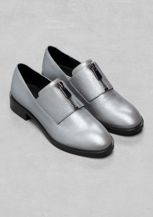 & Other Stories Leder Flats Silber Clean Chic Blogger Cosy 39