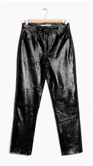 &Other Stories Lederhose Lackleder schwarz Gr.34