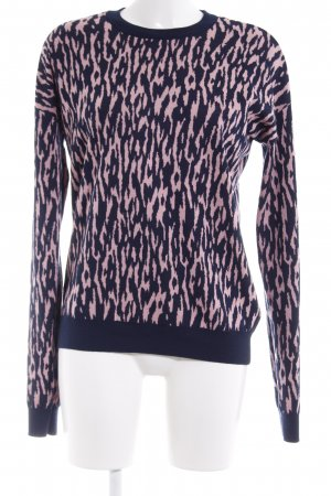 & other stories Long Sweater dark blue-pink leopard pattern casual look