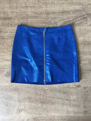 & Other Stories Minirock Leder Blau Glitzer Silber 34 XS Neu