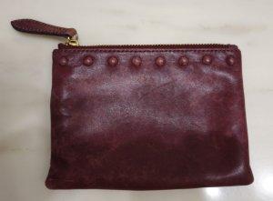 & Other Stories Pouch kleine Tasche Make-Up Bag Leder bordeaux