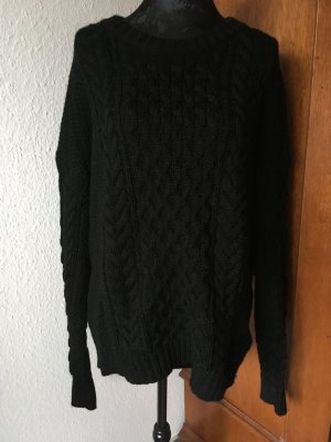 & Other Stories Pullover Zopfmuster Wolle Schwarz
