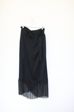 & Other Stories Rock Midi Skirt High Waist Schwarz Vintage Look Pencil Skirt Fransen