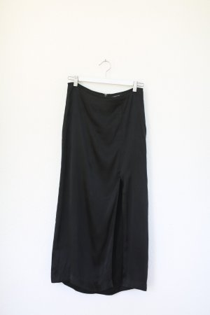 & Other Stories Rock Satin Midi Rock mit Schlitz schwarz Gr. 38 High Waist