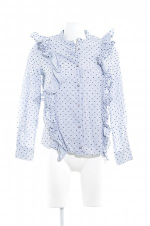 & other stories Ruche blouse korenblauw-donkerblauw gestippeld patroon