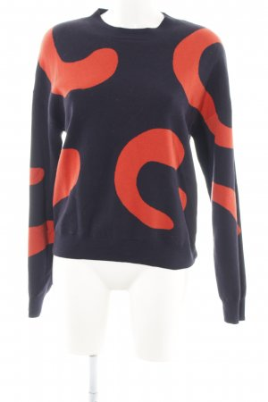 & other stories Rundhalspullover blau-rot abstraktes Muster Casual-Look