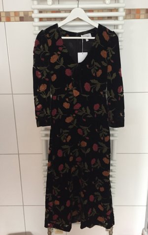 & Other Stories Samt Kleid mit Blumen 36