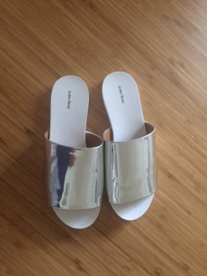 &other stories Schlappen Gr. 38 silber metallic wie neu Pantolette Sandale Leder