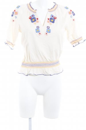 & other stories Slip-over Blouse cream-steel blue flower pattern casual look