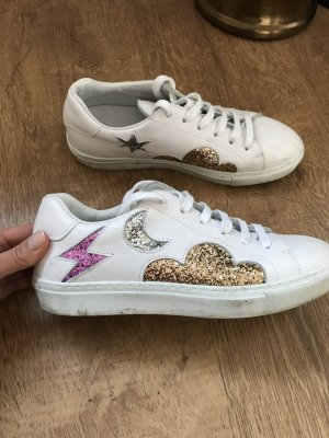 & other Stories Sneakers Turnschuhe Weiß Leder Glitzer 37 Blogger
