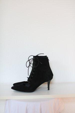 & Other Stories Sock Boots Wildleder Suede Leder Gr. 38 schwarz Vintage Look Ankle