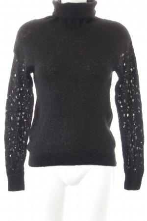 & other stories Strickpullover schwarz Lochstrickmuster Casual-Look