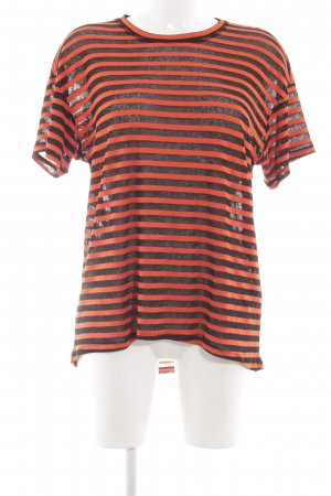 & other stories T-Shirt schwarz-rot Streifenmuster Casual-Look