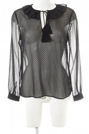 & other stories Transparenz-Bluse schwarz Punktemuster Paris-Look