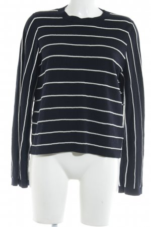 & other stories Wollpullover dunkelblau-wollweiß Streifenmuster Casual-Look