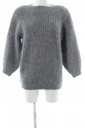 & other stories Wollpullover dunkelgrau-grau Boyfriend-Look